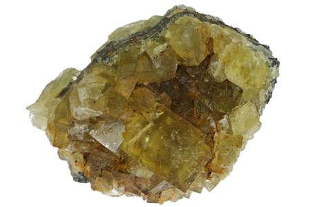 amber fluorite from Hilton Mine, England isolated on white background Archivio Fotografico