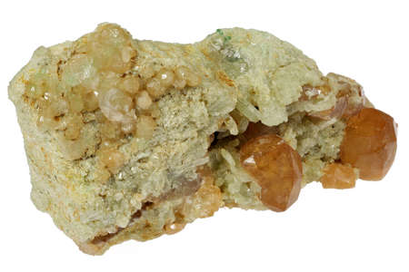 hessonite garnet from Mana Mine, Pakistan isolated on white background