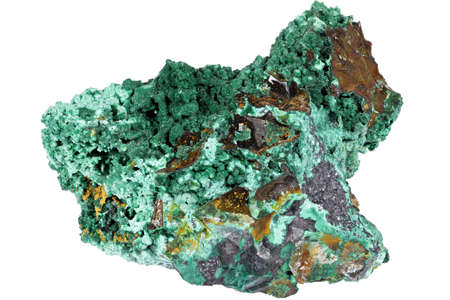 malachite from DR Congo isolated on white background