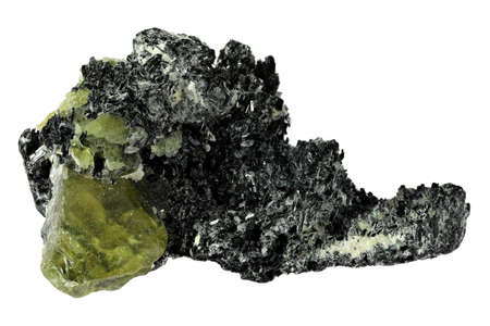 green sphene (titanite) with feldspar from Pakistan isolated on white background