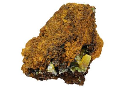 wulfenite and mimitie from Mina la Ojuele, Durango, Mexico isolated on white background