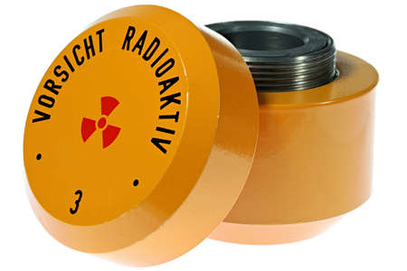 lead container for storage of radioactive material isolated on white background Archivio Fotografico