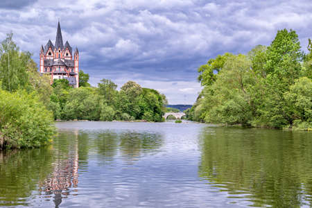 river Lahn with cathedral in Limburg, Germany