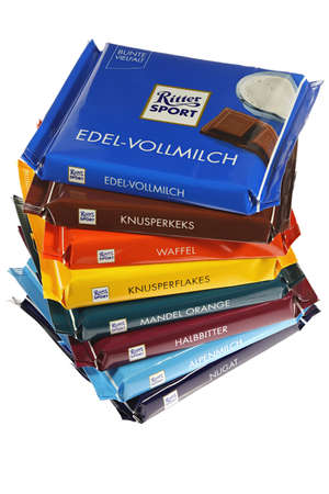 Ritter Sport chocolate bars isolated on white background