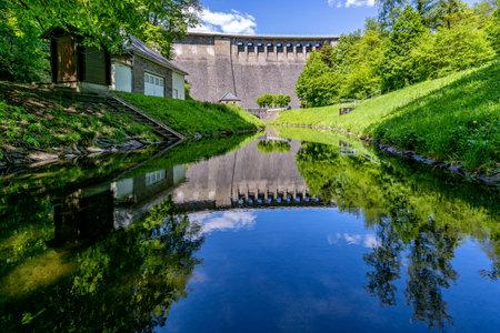 dam of the Aggertalsperre, a storage reservoir near Gummersbach, Germany Archivio Fotografico