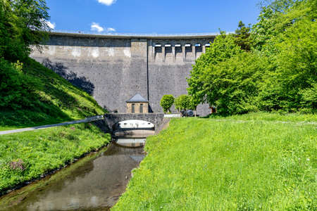 dam of the Aggertalsperre, a storage reservoir near Gummersbach, Germany Standard-Bild