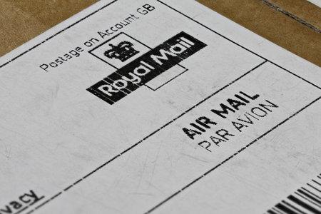 printed British Royal Mail logo on parcel label