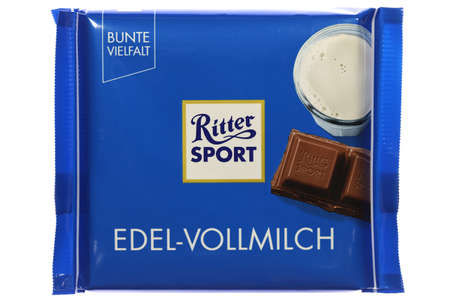 Ritter Sport whole milk chocolate bar isolated on white background Editorial