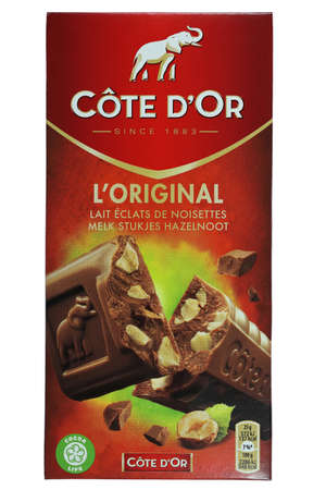 Cote d'Or chocolate isolated on white background Editorial