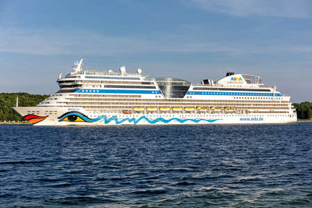 cruise ship AIDAsol in the Kiel Fjord Editorial