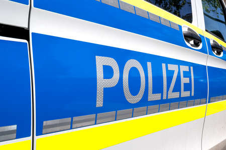 lettering at patrol car of German Police Standard-Bild