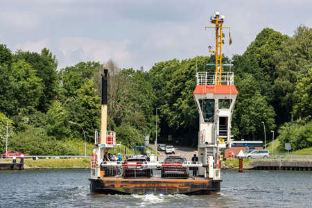 Kiel Canal ferry PILLAU at crossing point Sehestedt