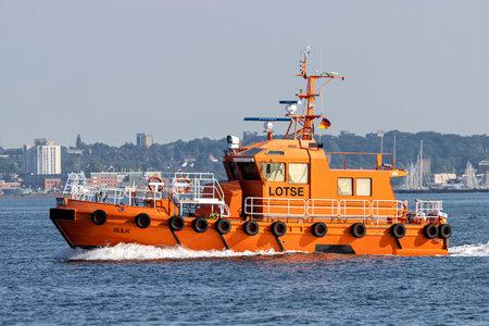 pilot boat BÃœLK in the Kiel Fjord Editorial