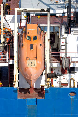 totally-enclosed lifeboat of an oceangoing freighter