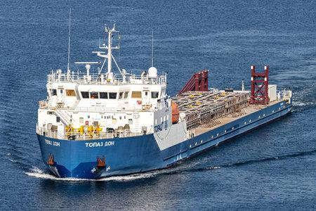 deck cargo ship TOPAZ DON in the Kiel Canal