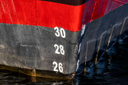 metric draft marks on the bow of a ship