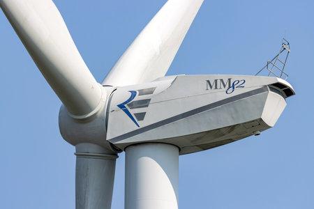 REpower MM 82 wind turbine against blue sky Editorial