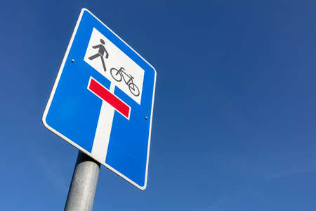 German road sign: no through road, open for cyclists and pedestrians Stock fotó