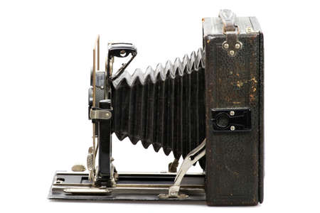vintage bellows camera isolated on white background