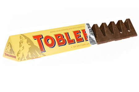 Toblerone chocolate isolated on white background
