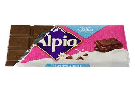 Alpia Alpine Milk chocolate isolated on white background