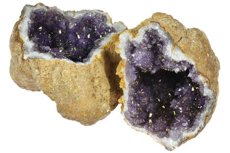 amethyst geode from Morocco isolated on white background