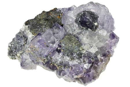 fluorite from La Viesca Mine, Siero, Spain isolated on white background