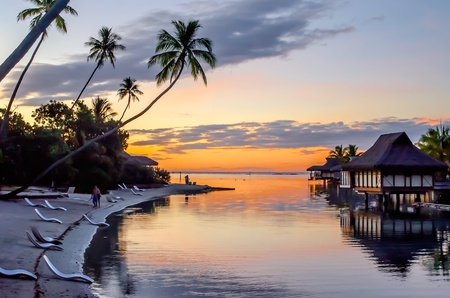 bungalows: Tropical Sunset at Moorea, French Polynesia