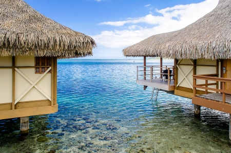 Overwater Bungalows, Moorea, Frans Polynesië