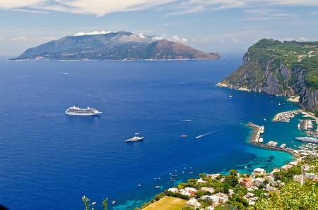 Sorrento Peninsula seen from Capri, Bay of Naples Stock Photo