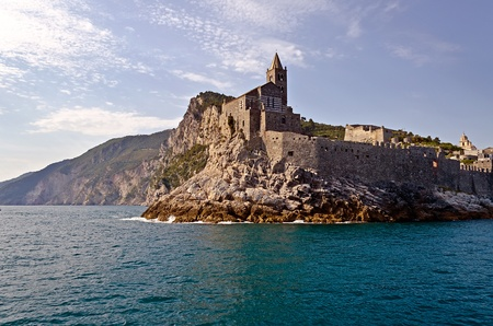 Church on the Rocks, Portovenere, Italië Stockfoto
