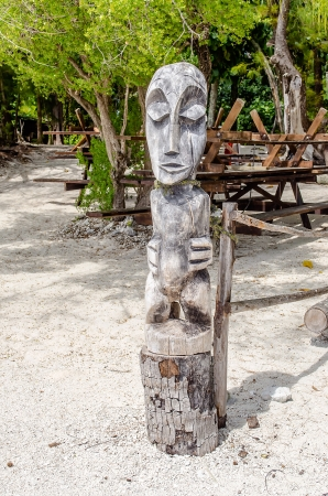 Tropical Wood Statue, French Polynesia photo
