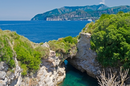 Beautiful Natural Pool in Sorrento, Bay of Naples Stock Photo