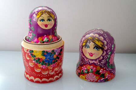 Traditional Russian Matrioska, vintage toy doll from Russian Culture Stock Photo