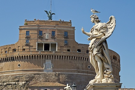 Statue against Castel St Angelo, Rome Editorial