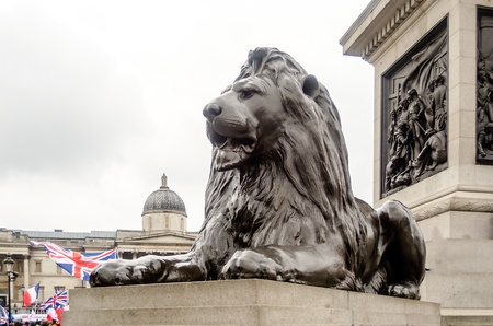 Lion Statue at Trafalgar Square, London, UK Stock Photo