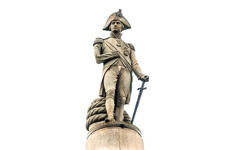 trafalgar: Nelson Statue at Trafalgar Square, London, UK