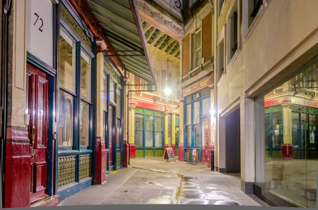 Leadenhall Market at night, London, UK