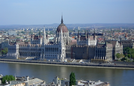 Hungarian Parliament Building over the Danube River, Budapest, Hungary