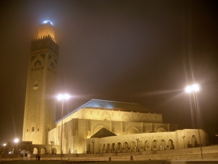 Hassan II Mosque at night, Casablanca, Morocco Stock Photo