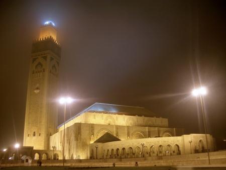 Mosquée Hassan II, la nuit, Casablanca, Maroc