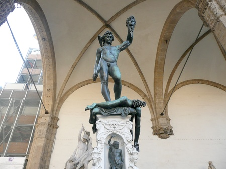 david and goliath: The traditional David and Goliath Statue, Florence, Italy Stock Photo