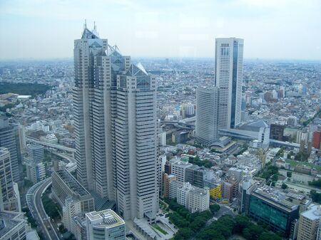 Aerial View of Shinjuku District, Skyline of Tokyo, Japan
