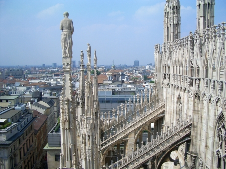View from the top of Milan Cathedral, Italy