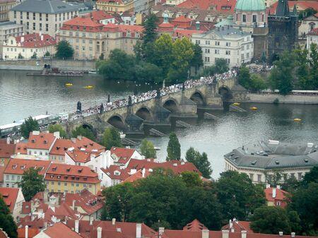 Panoramic view of Prague and city bridges, Czech Republic photo