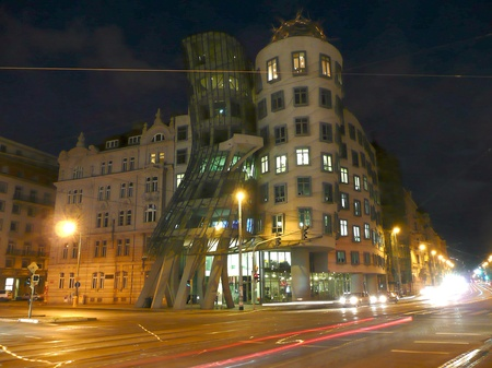 The Dancing House at night, Prague, Czech Republic