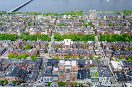 megalopolis: Aerial View of the Beacon Hill District and Charles River, Boston, USA
