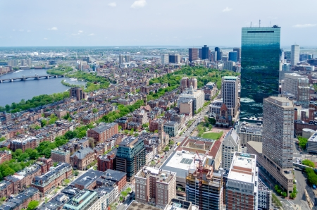 Aerial View of Central Boston from Prudential Tower Stock Photo