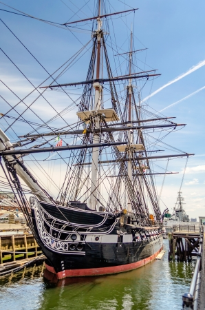 USS Constitution, wooden-hulled, three-masted heavy frigate of the United States Navy 報道画像