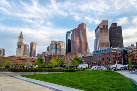 Skyscrapers, modern architecture in central Boston, USA Stock Photo